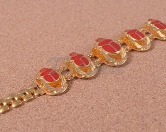 Beautiful Brass Egyptian Red Enamel Scarabs Bracelet With Hieroglyphic