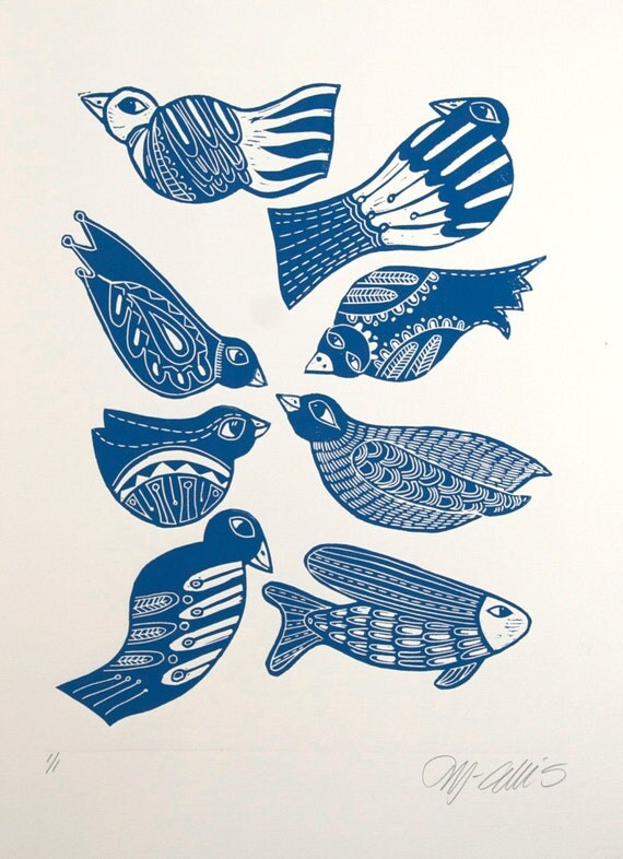 linocut, birds, folklore, fairytale, printmaking, blue, scandinavian design, nordic design, fish, feathers, home interior, country style