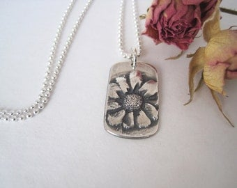 Small Silver Flower Necklace