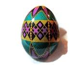 Egg, Pysanka, Ukrainian Easter Egg, Batik decorated chicken egg, Circus Ukrainian Egg, teal and purple