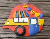 ornament, camper, polymer clay, decoration, orange, yellow, periwinkle, airstream