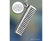 Comb Charm Sterling Silver for Hair Hairdresser Stylist Salon Spa .925