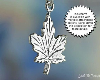 Maple Leaf Charm Sterling Silver Tree Leaves Autumn Canada Solid .925