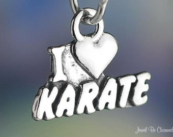 Sterling Silver I Love Karate Charm with Heart Martial Arts Solid .925