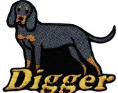 Iron on Patch Black and Tan Coonhound Name Personalized Free
