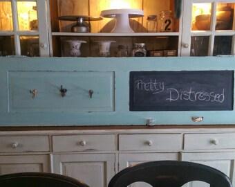 REDUCED/Milk Painted Distressed Vintage/Antique Shutter Coat Rack/Message Center/Blackboard/One Of A Kind Decor