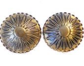 Vintage Clip On Earrings with Textured & Antiquated Bronze Sunburst Domes - Vintage Jewelry Signed Marino