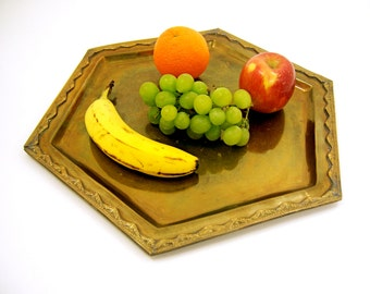 Brass serving tray vintage mid century modern home and living décor, candle platter, serve fruit bread chocolates, housewarming hostess gift