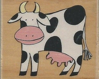 Cow Stamp -- NEW -- Wood Mounted Rubber Stamp -- Rubber Stampede Brand --  (#796)