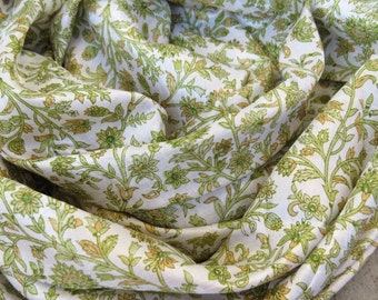 Scarf Beautiful Sari Scarf Versatile Upcycled VINTAGE Sari - floral grass green white brown - autumn winter accessories