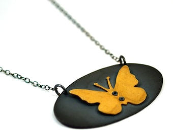 Butterfly Necklace, Sterling Silver and Gold, Oxidised silver butterfly necklace, Victoriana Necklace
