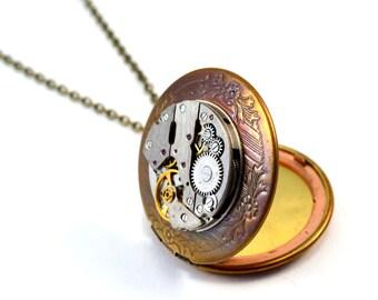 Steampunk Locket Necklace, Watch Movement Locket, Antique Gold Locket