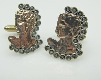 Greek Art Deco 8K Gold & Sterling Silver Centurion Head Cuff Links. Michelangelos David Bust Heads. Roman God Centurion. Etruscan C1940