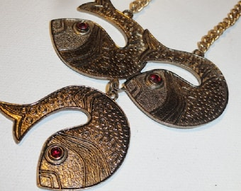 Fish Sarah Coventry necklace, 1970s necklace, Three, Fish jewelry, Fish pendant, vintage fish
