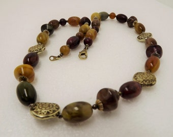 """1980's Browns Yellows Reds Greens Beaded 26"""" Necklace Goldtone Star Button beads"""