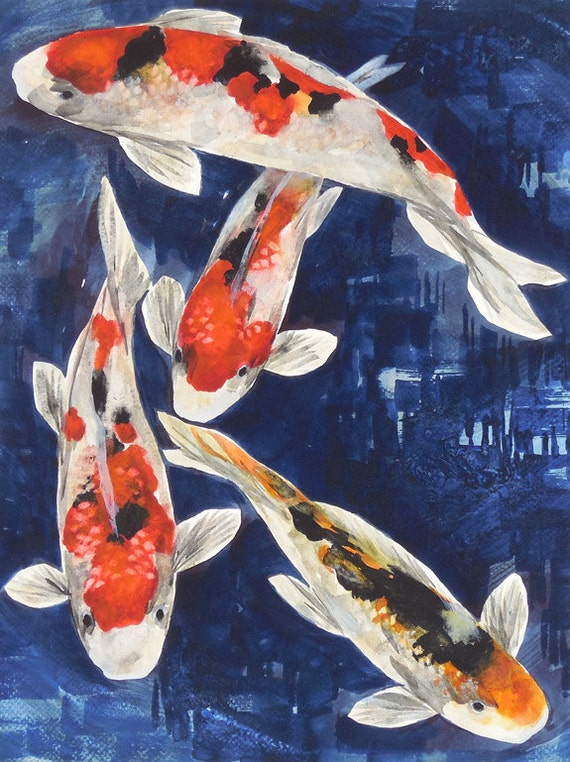 Original watercolor painting koi art koi fish koi by for Japanese koi carp paintings