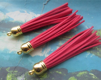10pcs 85mm Gold cap--coral suede leather tassel findings pendants
