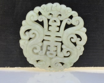 Double Face Jade Pendant Chinese Long Life Card  pendant  Bead Gemstsone 52mm Carved Jade Pendant