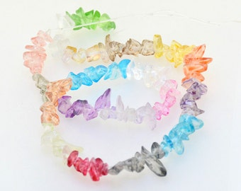 """15.5"""" Charm Chip Nugget Rainbow Mixcolor Glass Crystal Gemstone bead Full One Strand"""