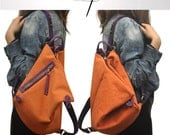 Kalliope Junior , Handmade Triangle Backpack  in Orange stonewashed canvas-leather  MADE TO ORDER