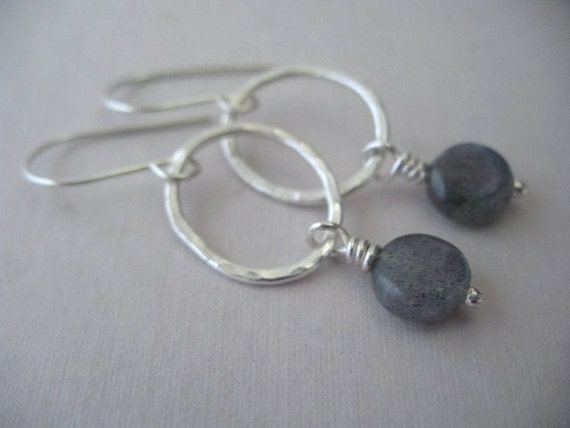 Labradorite Earrings Sterling Silver Jewelry Fine Silver Hammered Dangle Hoop Earrings