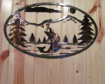BASS FISHING metal sign