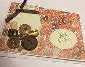 Mason Jar Birthday Card, Pink and Brown Handmade Card with Buttons, Braille Birthday Card, Tactile Card