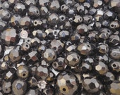 300+ Loose Faceted Black Glass Beads from Antique Necklaces
