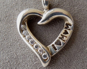 Sterling Silver I LOVE MOM Heart Pendant Necklace w/ Cubic Zirconia Stones & Long Sterling Chain    JV28