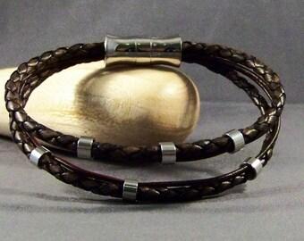 Mens Bracelet-Women Bracelet-Black Leather Bracelet-Wristband-Charm Bracelet-Men Charm Bracelet-Wrist Bracelet-Friendship Gift-Gifts-Leather