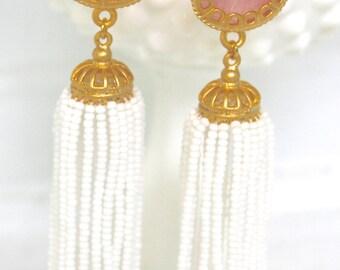 Pink Gold Jade Bead Scalloped 22K Plated Beaded Tassel Drop Dangle Earrings - Statement Earrings, One of a Kind, Beach
