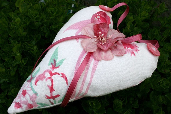 CLEARANCE Vintage Linens Cottage Heart Hanging Heart Sachet with Vintage Millinery - Pink and Red