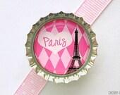 Eiffel Tower Pink Paris Bottle Cap Magnet - eiffel tower paris theme party favors, paris baby shower theme, eiffel tower decor, paris party