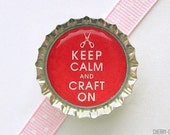 Keep Calm and Craft On Bottle Cap Magnet - keep calm and carry on, kitchen organization, fridge magnets, handmade magnets, keep calm magnets