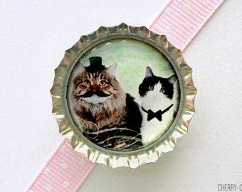 Classy Cats Bottle Cap Magnet - cat magnets, handmade fridge magnet cat, fridge magnet, cat party favors, funny cat gift, funny magnet, art