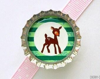 Deer Magnet, Bottle Cap Magnet, deer baby shower favor, woodland creature birthday baby shower idea, woodland baby shower favor, party favor