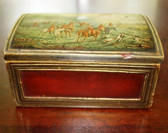 """Borghese box red and gold with English fox hunting scene 5-3/4"""" long x 3-7/8 wide x 2-7/8"""" high"""