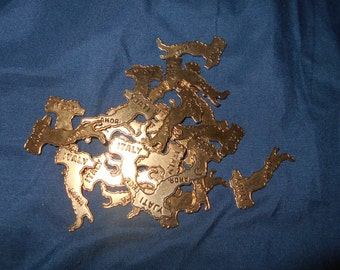 24 Gold-Plated Brass Italy Boot Charms Embellishment Stampings Findings