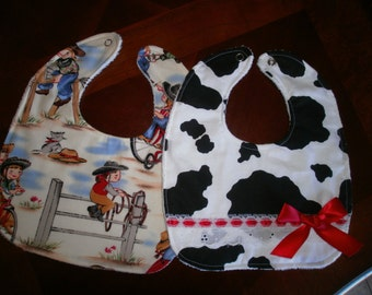 Baby Bib Set, Newborn, Gift, Shower, Toddler, Baby Bib, Red, Country, Cow Girl, Fancy, Trendy, Bib Set, Girlie, Chic. Bows, Baby Bib