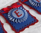 Red Glitter and Blue Gingham Banner, Birthday Banner, 10 Pennants