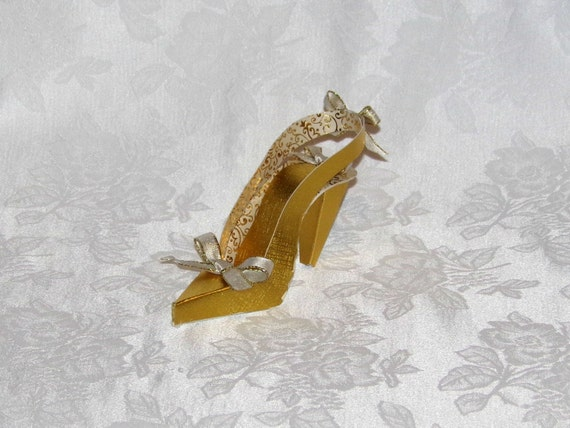Brushed Gold Slingback High Heel 3D Paper Shoe Art Sculpture Original Design