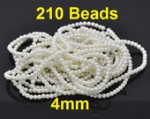 4mm Ivory Glass Pearl Imitation Round Beads - 32 inch strand
