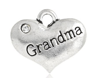 "1 or 2 or 4 pcs. Antique Silver ""Grandma"" charm with rhinestone - 16mm X 14mm"