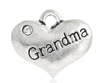 "1 or 2 or 4 pcs. Antique Silver ""Grandma"" charm with rhinestone- 16 mm X 14 mm"