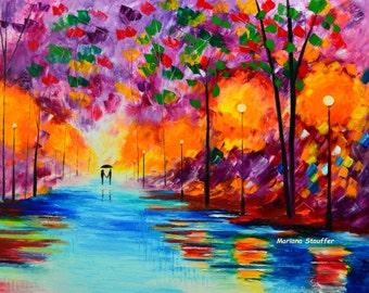 """couple paintings love rain park light rainy night purple original oil painting 30x24"""" artist Mariana Stauffer impressionist palette knife"""
