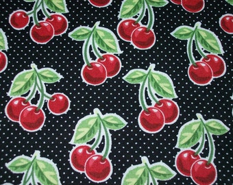 Per Yard Black Cherries Fruit Inspiration Fabric 100% cotton, for sewing, decorate