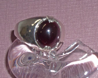 Garnet Ring - Men's Garnet and Sterling Silver Ring - Men's Ring Size 8 1/2