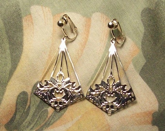 Large Silver Floral Kite Clip on or Pierced Earrings