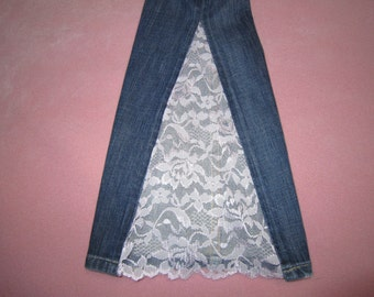 Jeans with Lace Inset by Custom Creations