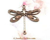 Antique Copper Filigree Dragonfly Pendant Charm Connector, USA Made Brass Stamping, 24x24mm, 2 Loops, Large, Lot Size 4 to 24, #09C